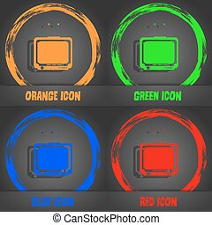 TV icon. Fashionable modern style. In the orange, green, blue, red design. Vector