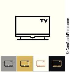TV icon, flat screen television symbol