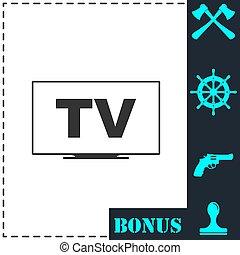 TV icon flat