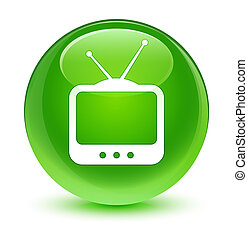 TV icon glassy green round button
