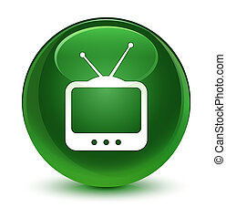 TV icon glassy soft green round button