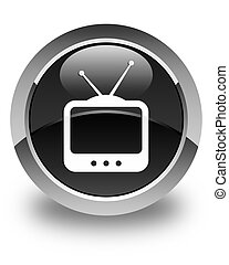 TV icon glossy black round button