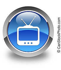 TV icon glossy blue round button 2