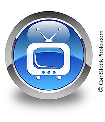 TV icon glossy blue round button