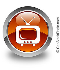 TV icon glossy brown round button