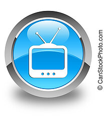 TV icon glossy cyan blue round button