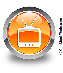 TV icon glossy orange round button 2