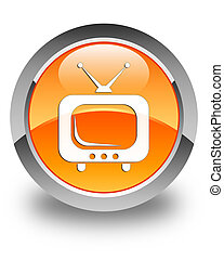 TV icon glossy orange round button