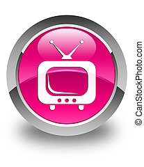 TV icon glossy pink round button