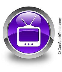 TV icon glossy purple round button