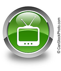 TV icon glossy soft green round button