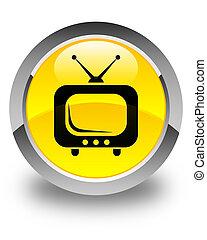 TV icon glossy yellow round button