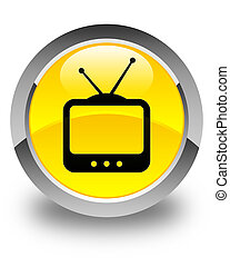 TV icon glossy yellow round button