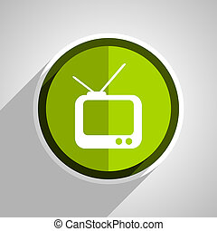tv icon, green circle flat design internet button, web and mobile app illustration