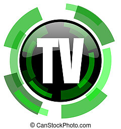 tv icon, green modern design isolated button, web and mobile app design illustration