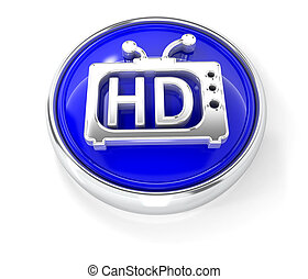 TV icon on glossy blue round button