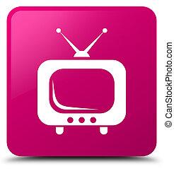TV icon pink square button