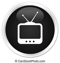 TV icon premium black round button