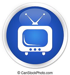 TV icon premium blue round button