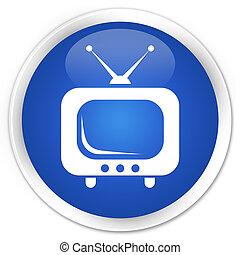 TV icon premium blue round button