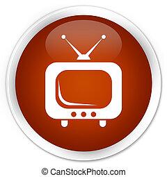 TV icon premium brown round button