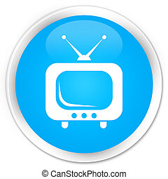 TV icon premium cyan blue round button