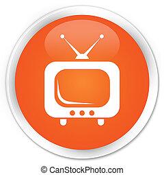 TV icon premium orange round button