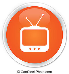TV icon premium orange round button