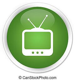 TV icon premium soft green round button