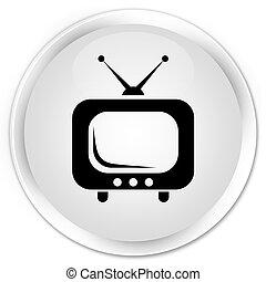 TV icon premium white round button