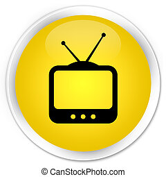 TV icon premium yellow round button