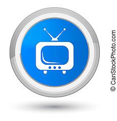 TV icon prime cyan blue round button