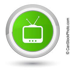 TV icon prime soft green round button