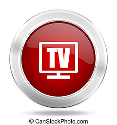 tv icon, red round glossy metallic button, web and mobile app design illustration