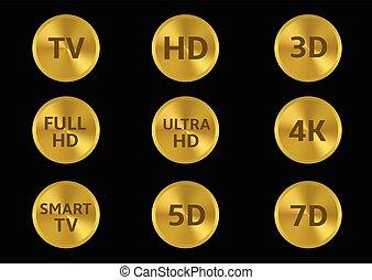 TV icon set - Golden tv format labels. TV HD 3D 4K 5D 7D...