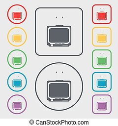 TV icon sign. symbol on the Round and square buttons with frame. Vector