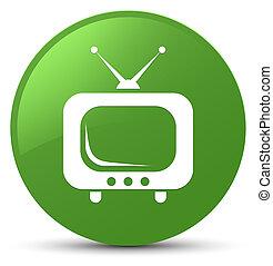 TV icon soft green round button