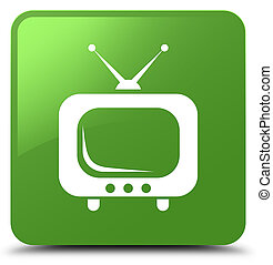 TV icon soft green square button