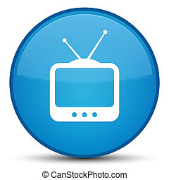 TV icon special cyan blue round button