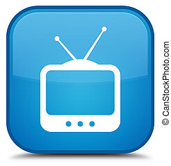 TV icon special cyan blue square button