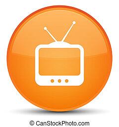 TV  icon special orange round button