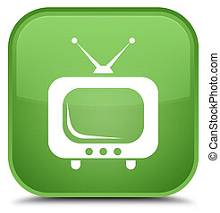 TV icon special soft green square button