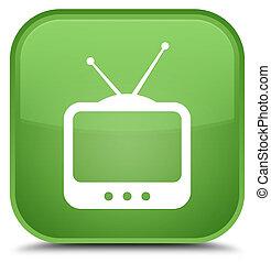 TV icon special soft green square button