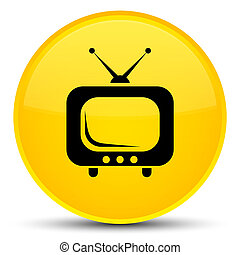 TV icon special yellow round button