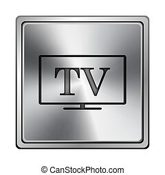 TV icon - Square metallic icon with carved design on grey...