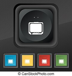 TV icon symbol. Set of five colorful, stylish buttons on black texture for your design. Vector