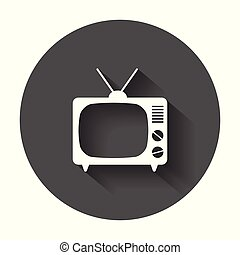 Tv Icon vector illustration in flat style. Television symbol for web site design, logo, app, ui with long shadow.