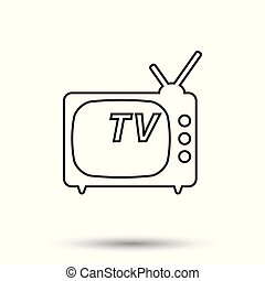 Tv Icon vector illustration in line style isolated on white background. Television symbol for web site design, logo, app, ui.