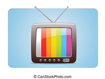 TV Icon With Test Panel Screen Fully Editable