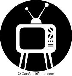 tv, icona,  set,  retro, vettore